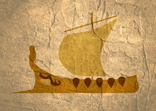 Greek Antique Military Sailboat With Woman Figure On Bow