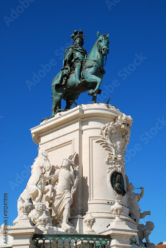 Statue of King Jose I on the Praca do Comercio Lisbon, Portugal Canvas Print