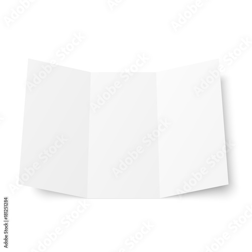 vector blank white trifold booklet opened on white background front side tri folded paper