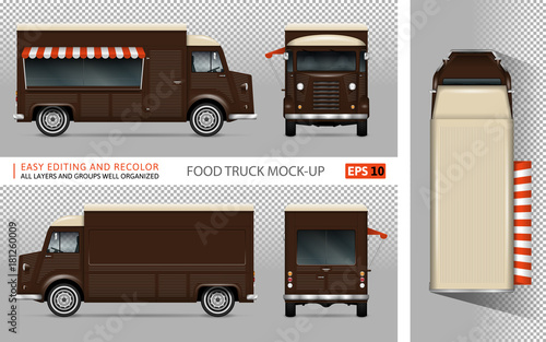 Food Truck Vector Mock Up For Advertising Corporate Identity Isolated Mobile Coffee Van
