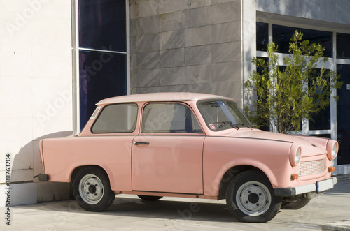 Old East German pink car Wallpaper Mural