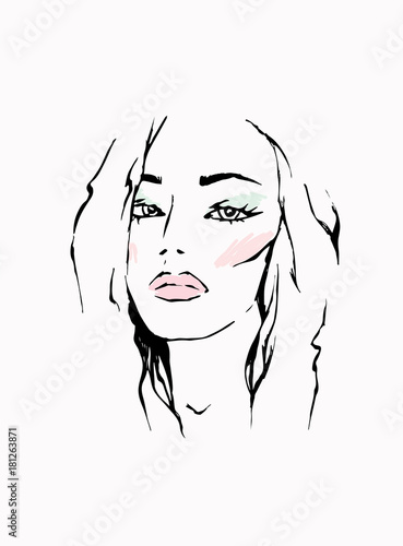 Beautiful girl. Vector illustration for a postcard or a poster, print for clothes. Fashion, style and beauty.