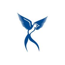 Scissor Bird Template Logo Vector Illustration