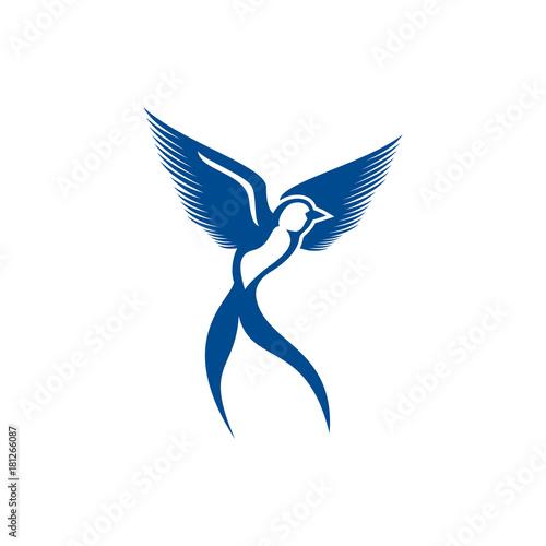 scissor bird template logo vector illustration Wall mural