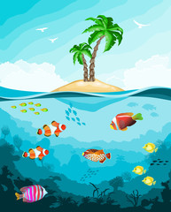 Fototapeta na wymiar Underwater world with fish and tropical island