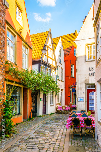 Canvas Prints Narrow alley People are strolling through Schnoor district in Bremen, Germany.