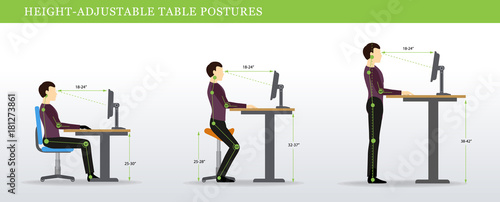 Fotografía  Height Adjustable and Standing Desks correct poses