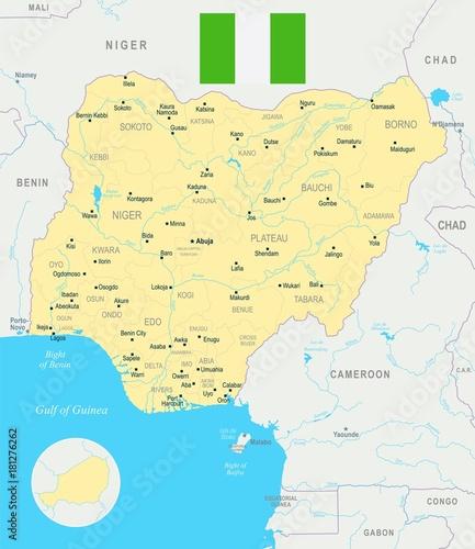 Plakat Mapa Nigerii - szczegółowe ilustracji wektorowych
