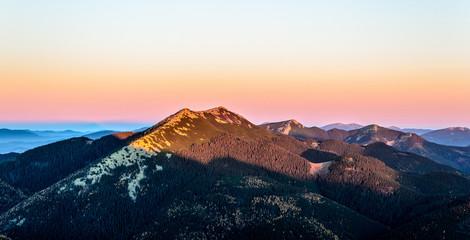 Fototapeta Góry Morning landscape. Sun is shining on a rocky mountain top. Autumn in the Ukrainian Carpathians