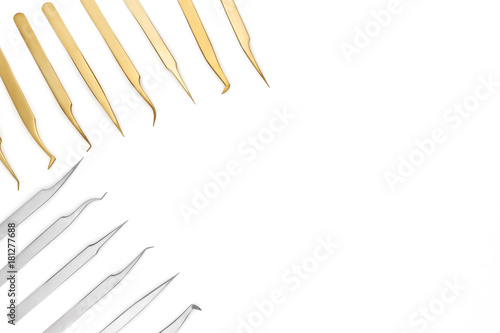 Fotografía  blank template set metal tweezers for artificial or fake eyelashes for your desi