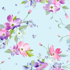 Spring Flowers Seamless Pattern. Watercolor Floral Background for Wedding Invitation, Fabric, Wallpaper, Textile. Botanical Hand Drawn Texture. Vector illustration