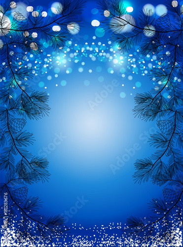 blue christmas background with snow and black pine spruces sparkling winter vector background buy this stock vector and explore similar vectors at adobe stock adobe stock blue christmas background with snow and