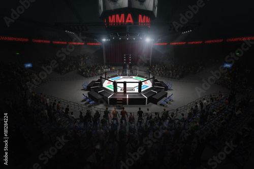 Photo big mma fighting arena with lots of fans 3d rendering