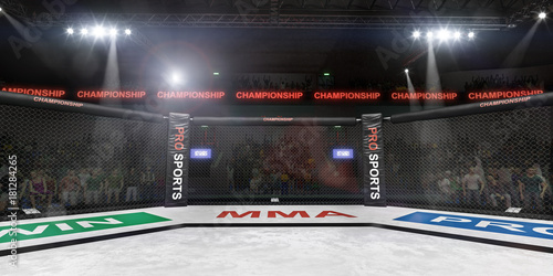 Photo  mma fighting stage side view under lights 3d rendering
