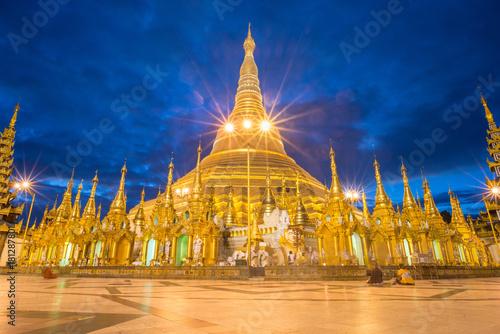 Shwedagon pagoda an iconic landmark of Yangon township of Myanmar at dusk Fototapeta