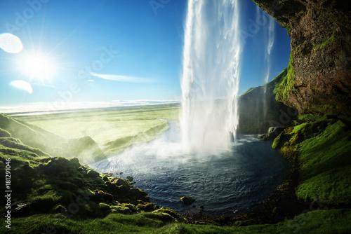 Recess Fitting Waterfalls Seljalandfoss waterfall in summer time, Iceland