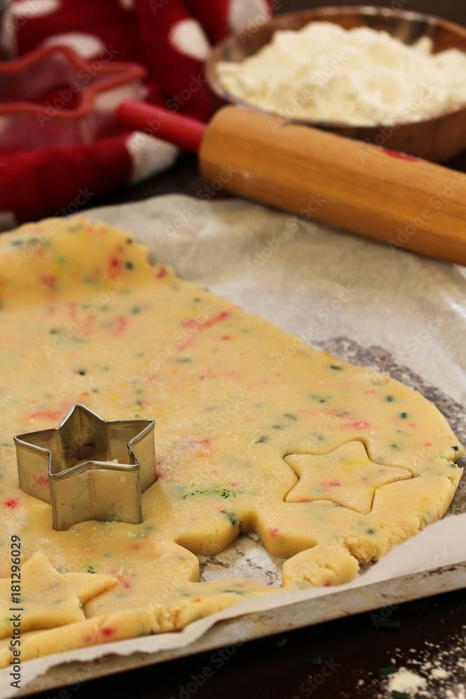 Photo Art Print Xmas Baking Concept Cutting Homemade Sugar