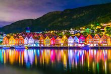 Night View Of A Historical Wooden District Bryggen In The Norwegian City Bergen.