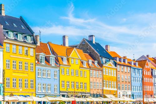 Photo  View of old Nyhavn port  in the central Copenhagen, Denmark.