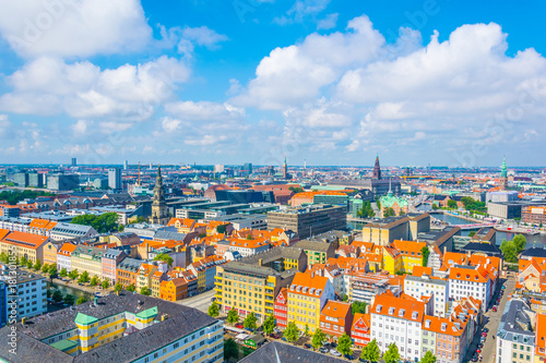 Foto op Canvas Milan aerial view of copenhagen including the Borsen building and the Christiansborg palace