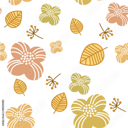 Fototapeta Flower pattern vector. Nature elements background for textile, greeting card, poster, cover page design, wrapping paper. obraz na płótnie