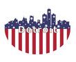 Detroit City And USA Flag