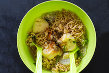 Top View Instant Noodle In A B...