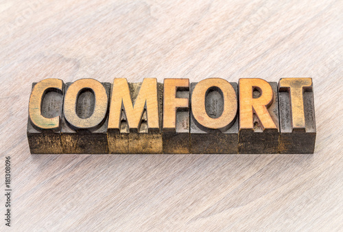 Fotografie, Obraz  comfort word abstract in wood type