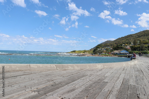 The view looking towards the foreshore, from the end of the Lorne pier Canvas Print