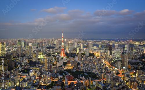 Poster Paris Night scene of Tokyo, Japan