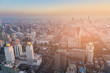 Aerial view City downtown business area sunset skyline, cityscape background
