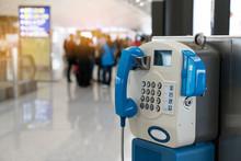 Public Payphone Telephone Inside The International Airport. Public Telephone Corner For Passenger Or Traveler.