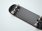 Blank black skateboard deck. 3d rendering