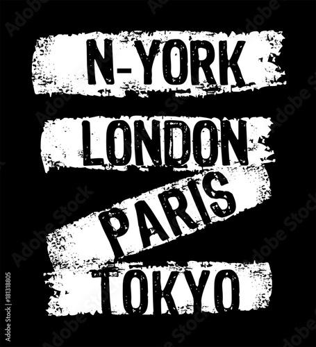wektor typografia nowy jork london Paryż tokio