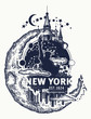 Statue of Liberty, New York and moon tattoo and t-shirt design. Big city New York city skyline concept art poster