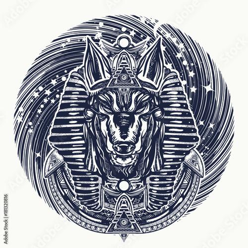 Anubis and universe tattoo and t-shirt design  Ancient Egypt Anubis