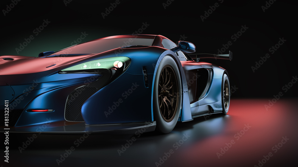 Fototapety, obrazy: Electric power super car. 3d render and illsutration.