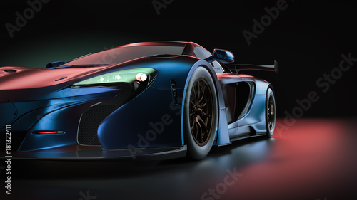 Fototapeta Electric power super car. 3d render and illsutration. obraz na płótnie