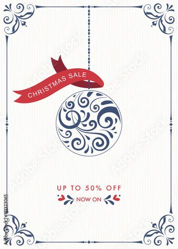 Fototapeta Winter Holiday Sale banner with ornate Christmas Ornament and swirl frame. obraz na płótnie