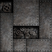 Rusty Metal With Cogs And Gears Behind. Steam Punk Technology 3d Illustration Background.