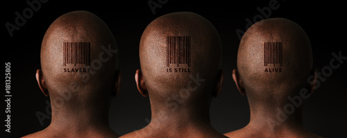 Photo Illustrative image of three African men with retail barcode tattoos