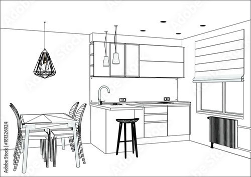 Home Architec Ideas Kitchen Design Vector