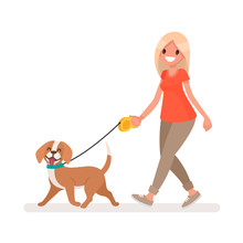 Woman Is Walking With A Dog. V...