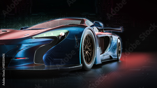 Electric power car. 3d render and illsutration