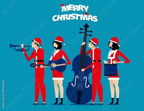 In de dag Muziekband The Band. Santa team relax. Concept holiday vector illustration. Flat character design style.