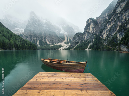 Wall Murals Lake Lake in the mountain valley in the Italy. Beautiful natural landscape in the Italy mountains.