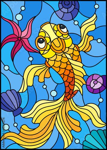 ilustracja-w-stylu-witrazu-ze-zlota-rybka-na-tle-muszli-i