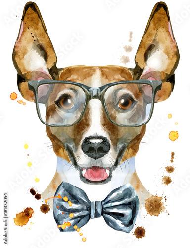 jack-russel-terrier-pies-z-okularami-i-muszka-akwarela