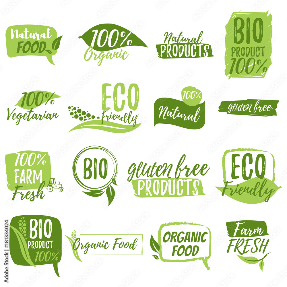 Fototapety, obrazy: Stickers and badges for organic food and drink, restaurant, food store, natural products, farm fresh food, healthy products promotion. Natural products badges vector illustration