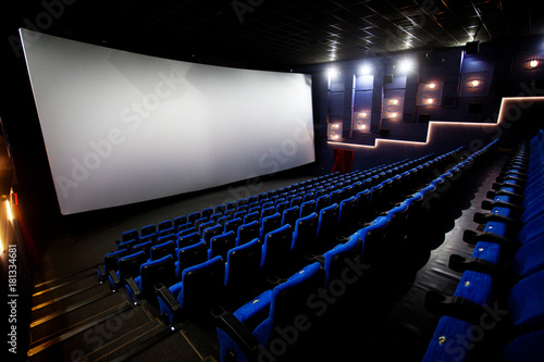 Free blue comfortable seats in the cinema imax Canvas Print